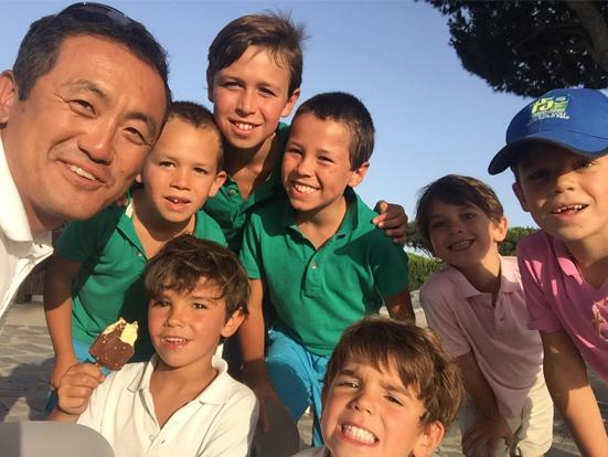Recibiendo una master class de golf